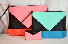 Victorias Secret Angels Makeup Cosmetic Bag Trio Set Wristlet Nwt