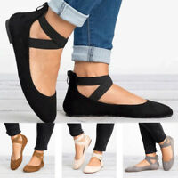 Women Flats Ballet Shoes Ankle Strap Loafer Round Toe Comfort Boat Dance Size