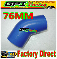 "Silicone 45 degree Elbow 76mm 3"" inch Turbo Intercooler hose BLUE INTERCOOLER"