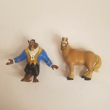 """💲 Disney Beauty and the Beast 4"""" Figures Lot of 2 Phillipe and Beast (Rr9)"""