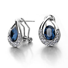 GORGEOUS 18K WHITE GOLD PLATED GENUINE BLUE CZ & AUSTRIAN CRYSTAL STUD EARRINGS