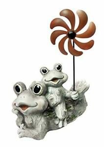 Alpine Corporation QWR842 Two Frogs Holding a Windmill Stake Garden Statue 19...