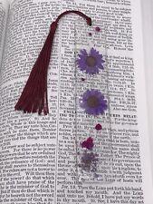 Handmade Floral Pressed Flowers W/ Glitter Resin Bookmark With Maroon Tassel
