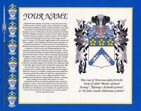 "HERITAGE COAT OF ARMS WITH SURNAME HISTORY PRINT 10"" x 8"" & FREE A4 NAME HISTORY"
