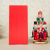 Wood Soldier Drummer Nutcracker/Carousel Wind Up Music Box Home Decor Ornaments
