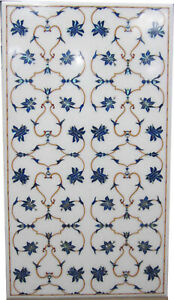4'x2' White Marble Dining Top Table Lapis Mosaic Marquetry Floral Inlay Art W246