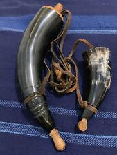 Two Hunting muskets w/Strap - Bull Horn Gun Powder Flask