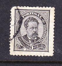 Portugal Estampilla -1882 5R Negro-Perf 11.5 - Usada