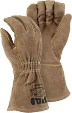 FR LEATHER WELDERS GLOVE WITH ELASTIC WRIST, Majestic, 2100, Large, 1 Pair