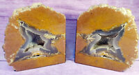 """Massive XL Geode Bookends Crystal Rock Stone Display Specimens Large 8"""" H 27 lbs"""