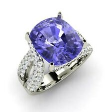 Real 14K White Gold Ring 5.0 Ct Real Diamond Tanzanite Gemstone Rings Size 7 6 5