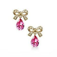 ITALINA 18K ROSE GOLD PLATED GENUINE CUBIC ZIRCONIA PINK DANGLE BOW EARRINGS
