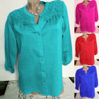 Women Lace Splicing Solid Plus Size Three Quarter Sleeve Blouse Top Tunic Shirt