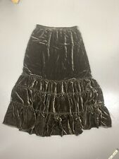 Chico's 1 Boho Brown Velour Silk Blend Tiered Long Maxi Skirt