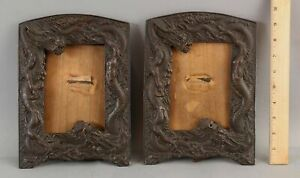 Pair Antique Bronzed Japanese Dragons Photograph Table Top Picture Frames NR