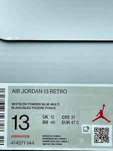 Nike Air Jordan 13 Retro Obsidian Powder Blue White 414571-144 Men's Size 13-14