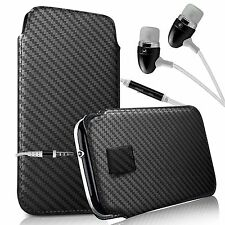 For Sharp SH530U - Carbon Fibre Pull Tab Case & Handsfree