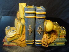 Art Deco Style Italian Pocket Watch Globe Open Book Ends Sculptures