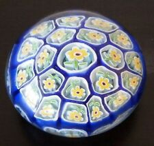 Vintage  MURANO ART GLASS PAPERWEIGHT MILLEFIORI DAISY FLORAL Blue Yellow + TAG