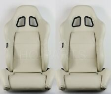 2 X TANAKA BEIGE PVC LEATHER RACING SEATS DUAL RECLINER + SLIDERS FIT FOR NISSAN