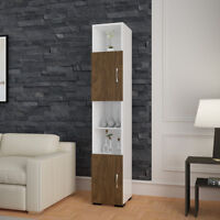 White/Brown Wooden Free Standing Single Door Tall Storage Cabinet Cupboard Shelf