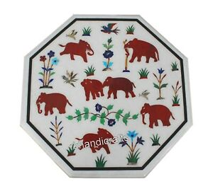 Red Stone Elephant Art Inlay Coffee Table Top Octagonal Marble Corner