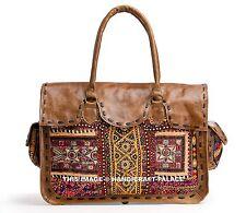 Genuine Vintage Leather Messenger Briefcase Satchel Women Bag Brown Banjara Bag