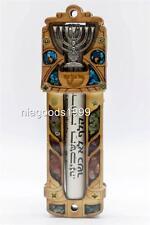 Jewish Mezuzah wooden case Scroll Silvered Menorah Judaica home Guardian Israel