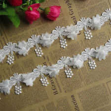 1 yd Vintage Butterfly Lace Edge Trim Wedding Dress Ribbon Applique Sewing Craft