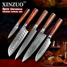 Knife Set 73 Layers Damascuss Steel Brown Wood Handle Kitchen Knives Anti Rust X