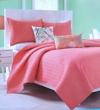 New J Queen Coverlet Camden Salmon Coral Melon Pink Twin 64 x 90