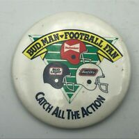 "Bud Man Football Fan Budweiser Beer NFL Advertising 2-1/2"" Button Pinback   R1"