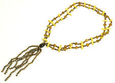 """Jay King Bronze Gold Pearl Tiger's Eye Beaded Tassel Necklace 25"""" Sterling Tag"""