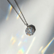 Real 925 Sterling Silver Diamond Pendant Necklace Chain SOLID Silver Jewelry