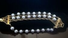 Stunning Golden Five Strand Chain and Faux Pearl Bracelet, Vintage Jewelry