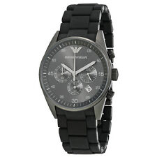 NEW EMPORIO ARMANI BLACK SILICONE WRAP STAINLESS STEEL LARGE MEN WATCH-AR5889