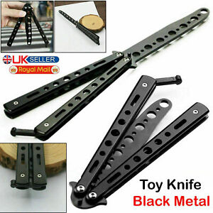 Butterfly Black Metal Balisong Trainer Training Dull Tool Practice Toy Knife UK