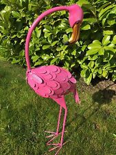 *SALE* Large Metal Freestanding Pink Flamingo Garden Pond Stand Outdoor Ornament