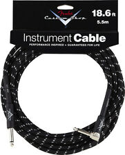 New Fender Custom Shop 18.6 Ft Right Angle Black Tweed Instrument Guitar Cable