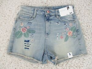 Arizona Jean Co Hi-Rise Shortie Distressed Floral Cut-off Shorts Size 5 NWT New
