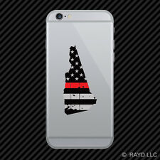 Distressed New Hampshire Shaped Subdued US Flag Thin Red Line Phone Sticker