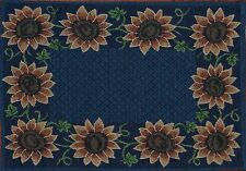 Tapestry Placemat~Harvest Gold Fall Sunflower~Dark Blue~Autumn~Thanksgiving~NEW