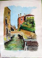 ✅Acquerello '900 su carta Watercolor - Scorcio di Burano ponte con scale - (120)