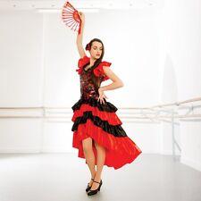Dama Negro Rojo flamenco español Vestido Disfraz de danza