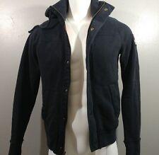 HOLLISTER Men's Jacket Sz M, Coat Fur Hoodie Zip Up Navy Blue Cali Cotton Blend
