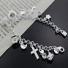 cute best Silver Plated Fashion Women 13 Charm pendant Beautiful Bracelet chain