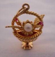 RARE Vintage 14k Gold 3D JEWELED FLOWER BASKET Bracelet Charm 4.9 G #18006