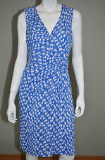 ANN TAYLOR Blue & White Nautical Printed Wrap Dress - Size Medium
