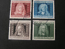 *LIECHTENSTEIN, SCOTT # 172-175(4), COMPLETE SET 1941 JOHANN ANDREAS ISSUE USED