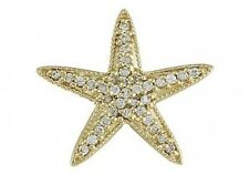 0.36 ct F VS2 natural diamond star fish charm pendant solid 14k yellow gold 16""